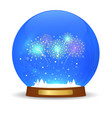 glass ball with new year fireworks vector image vector image