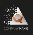 golden letter q logo in silver pixel triangle vector image vector image