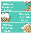 Hand drawn banners with beer in glass mug with vector image vector image