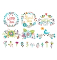 hand drawn wedding graphic flowers and wreaths vector image vector image