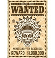 indian chief skull wanted poster in vintage style vector image vector image