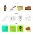 isolated object of story and items symbol set of vector image vector image