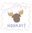 lettering with moose portrait vector image
