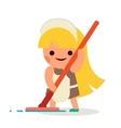 Little Independent Housewife Happy Girl Wash Floor vector image