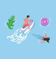 man driving jet ski girl swimming in water vector image vector image