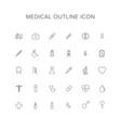 medical line icon set vector image