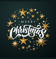 merry christmas greeting card gold glitter stars vector image vector image