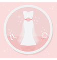 Pink wedding dress icon vector image vector image