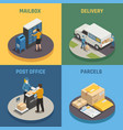postal service isometric icons square vector image