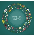 Postcard of modern flat design hipster icons vector image vector image