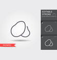 potato line icon with editable stroke with shadow vector image vector image