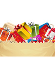 presents in paper bag 02 vector image vector image