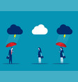 protection business team with umbrella in storm vector image
