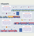 railway transport and logistic infographic set vector image
