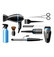 realistic hairdresser tools 3d professional salon vector image