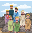 scene in desert with group of apostles next to the vector image vector image