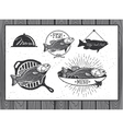 Seafood labels fish packaging design vector image vector image