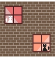 Seamless pattern of a cats in house windows vector image vector image