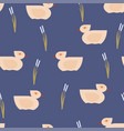 seamless pink duck pattern on blue vector image
