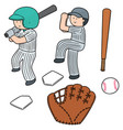 set of baseball player and baseball equipment vector image