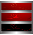set valentines banners continuous line drawing vector image vector image