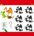 shadows game with animal characters vector image vector image