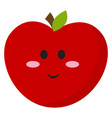 smiling apple on white background vector image vector image