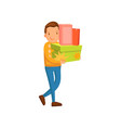 smiling man carrying shopping bags and gifts male vector image
