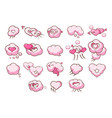 speech bubbles in shape hearts set pink clouds vector image