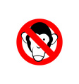 Stop monkey Forbidden Macaque Frozen head primacy vector image vector image