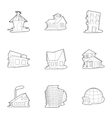 Structure icons set outline style vector image vector image
