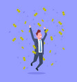 successful business man jump throwing money rich vector image