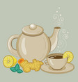 teapot and cup ginger and lemon tea vector image