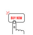 thin line simple hand on buy now vector image