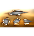 torn hole ragged crack in golden sheet vector image