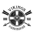 viking shield and crossed arrows emblem vector image vector image