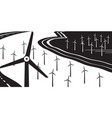 wind turbines on land and at sea vector image vector image