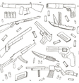 Hand drawn seamless pattern with Weapons vector image