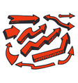 arrows of red color hand drawn vector image
