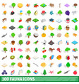 100 fauna icons set isometric 3d style vector image
