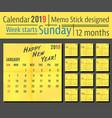 2019 year calendar template yellow memo stick vector image