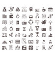 black and white business glyph icons set vector image vector image