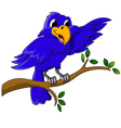 blue bird cartoon character sitting on a branch vector image vector image