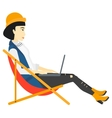 Business woman sitting in chaise lounge with vector image vector image