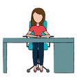 businesswoman in office desk vector image