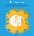 CD or DVD icon sign Floral flat design on a blue vector image vector image