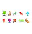 chair icon set cartoon style vector image vector image