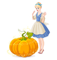 Cinderella Surprised by a Magical Pumpkin vector image vector image