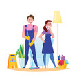 cleaning service flat composition vector image