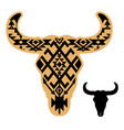 cow skull with aztec pattern auroch vector image vector image